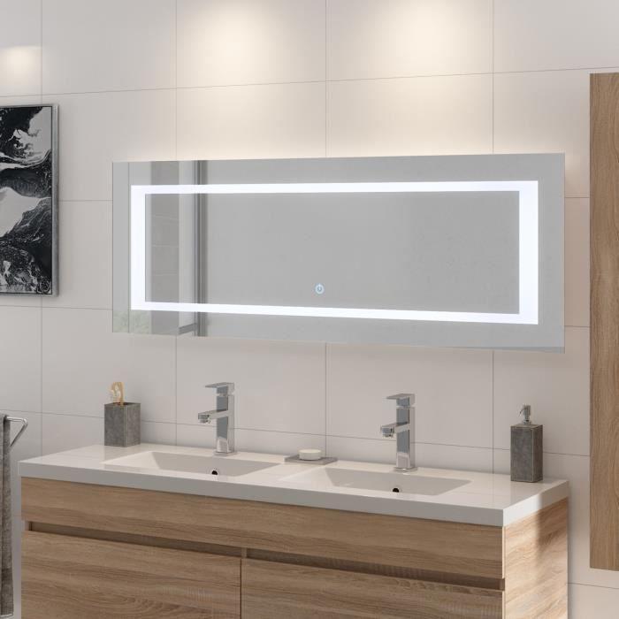 MIROIR SALLE DE BAIN LOUNGITUDE Miroir rétro-éclairé - Cadre métal - L