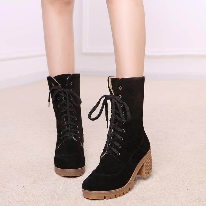 martin boots-Pur CarrCouleur Talon Lacet Bottes en su de pour femme buPyTTGzy
