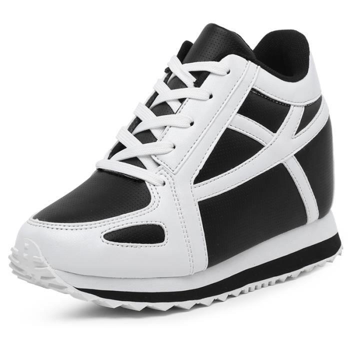 Chaussures femmes PU talons en cuir femmes chaussures occasionnels hauteur accrue confortables Chaussures Casual