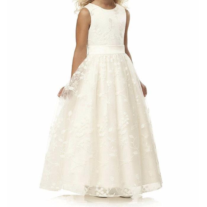 Robe de fille en dentelle pour mariage sans manches