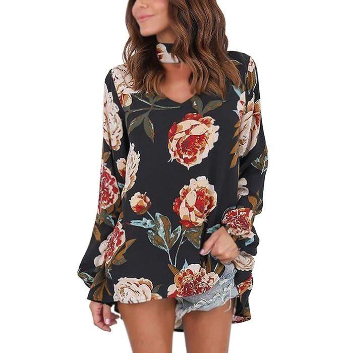 abbd1b9ba983 ... Fleur Imprimé Blouse T-shirt. CHEMISIER - BLOUSE Minetom Femmes Choker  V-cou Manches Longues Chemis