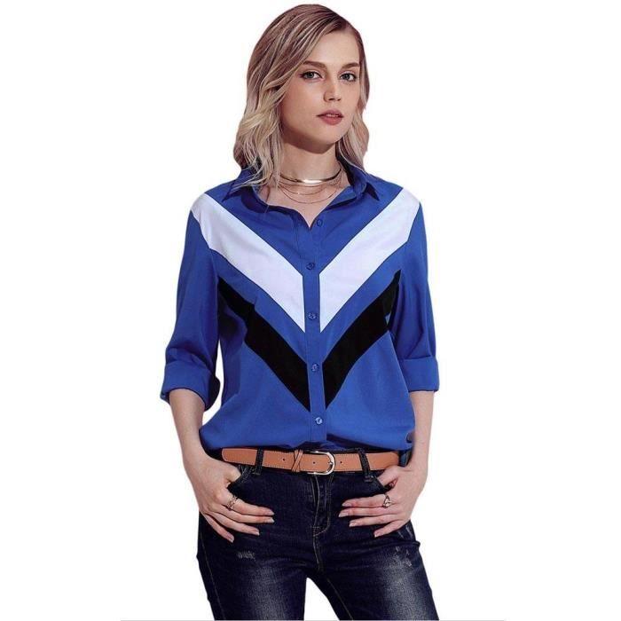 les mieux notés dernier qualité et quantité assurées magasin d'usine Chemise Femme Manches Longues Couleur Contraste Casual Top Elegant  Collection 2018