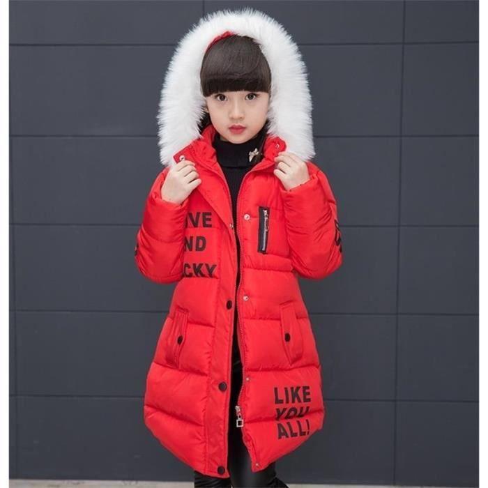 Doudoune avec Capuche Fille Enfant Longue Manteau Fausse Fourrure Épaisse  et Chaude Hiver 4-14 Âges Rouge 6ecfc3e4b7e