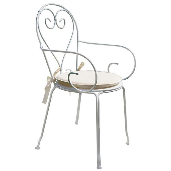 Chaise Jardin En Fer Forge Coloris Blanc