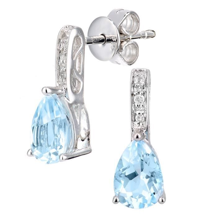 Revoni - Boucles d'oreilles pendantes en or blanc 9 carats, diamants et topazes bleues, motif goutte deau