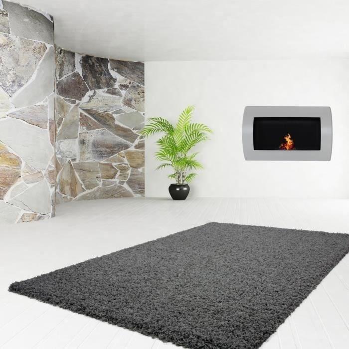trendy tapis de couloir shaggy en polypropyl ne 80x140 cm gris anthracite achat vente. Black Bedroom Furniture Sets. Home Design Ideas