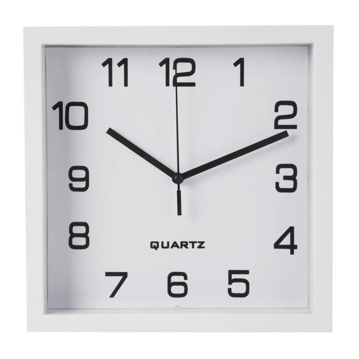 horloge murale carr e blanche 23x23cm achat vente horloge pendule black friday cdiscount. Black Bedroom Furniture Sets. Home Design Ideas