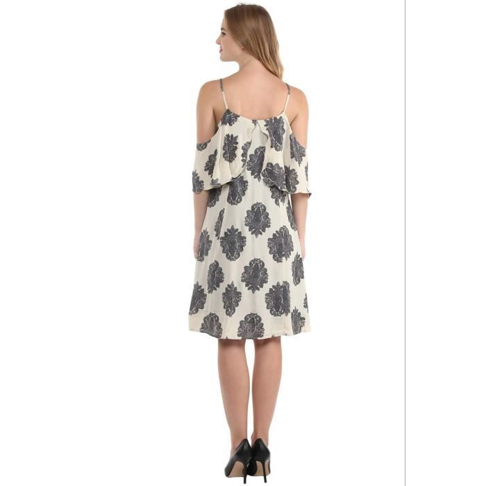 Womens Offwhite Cold Shoulder Skater Dress With Overlap Flare At Front G68L8 Taille-34