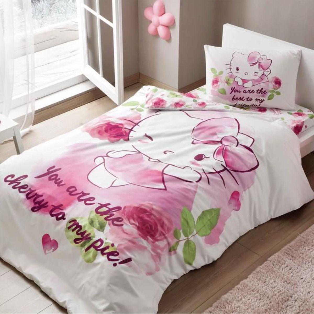 Tac Parure De Lit Hello Kitty Cherry 1 Personne 100 Coton 3 Pcs