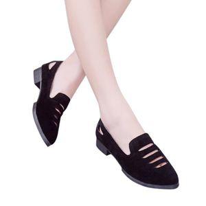 couleur pointu Femmes Noir Sandales talon unie Fashion Chaussures creux plates bout plat qWqaFXEcy