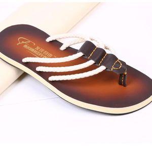 6988605f89d45 Summer New trois bandes en cuir tongs hommes haut de gamme de marque  chaussures qe3723