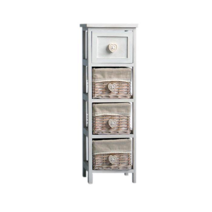FIDJI Petit meuble de rangement de salle de bain L 25 cm - Laqué beige brillant