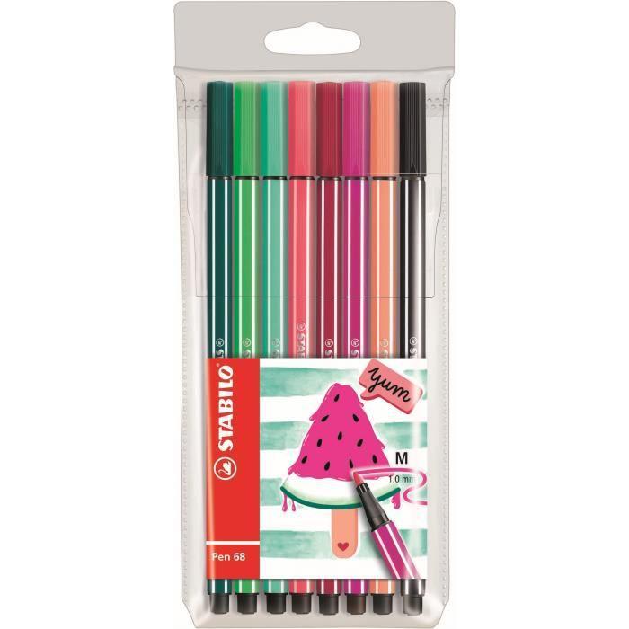 STABILO 8 feutres de dessin Pen 68 Living colors - Décor pasthèque