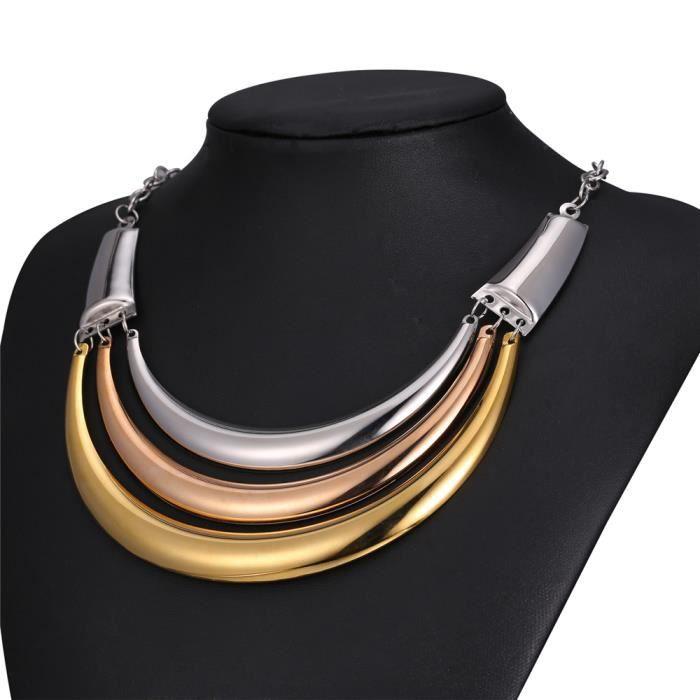 U7 Collier Torque-Acier INOX-Plaqué Or-Plaqué Or Rose-Ras du Cou Tricolore-Chic Accessoire-Bijoux pour Femme