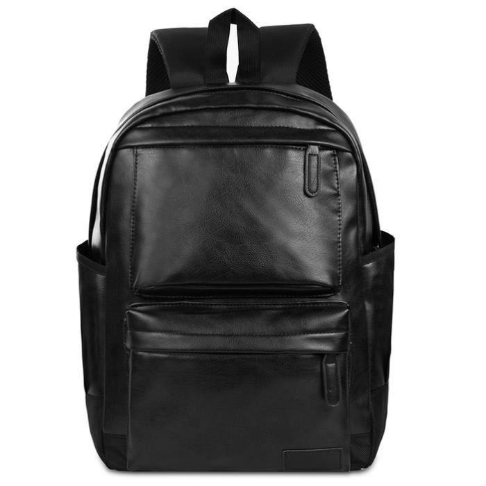 Vbiger hommes en cuir PU Sac à dos Voyage Sac à dos pour ordinateur portable Sac à dos School Bookbag pour homme, noir