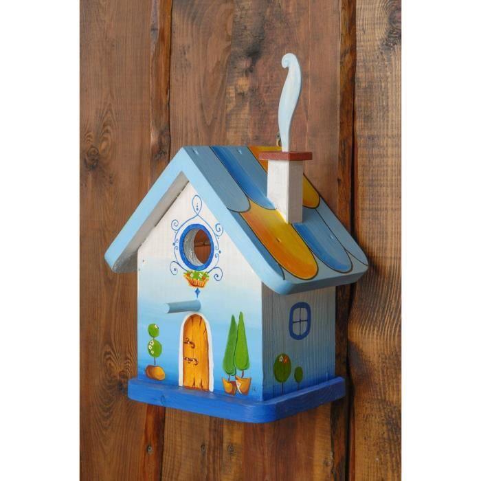 nichoir pour oiseaux en bois fait main original peint. Black Bedroom Furniture Sets. Home Design Ideas