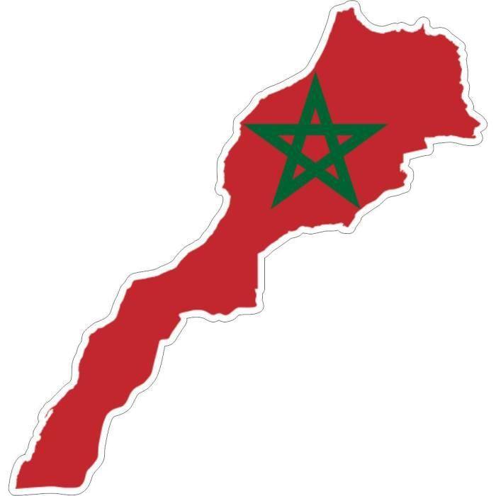 Autocollant sticker voiture drapeau carte maroc achat - Drapeau du maroc a imprimer ...