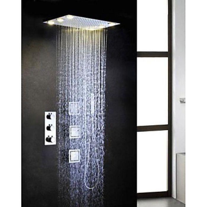 Lookshop® Robinet de douche thermostatique avec tête de douche encastrable  au plafond 16ef7e6a1724