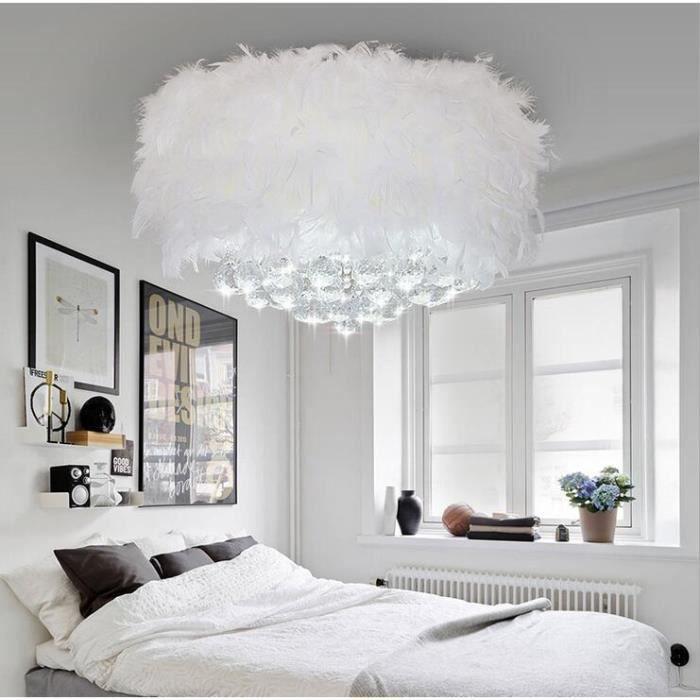 Exbon lustre suspension cristal plume café restaurant bar lampe luminaires suspension hang lamp blanc30cm
