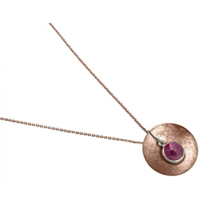Gemshine - Femmes - Collier - Pendentif - Argent 925 - plaqué or rose - Shell - géométrique - Design - Rubis - Rouge - 45 cm