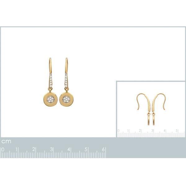 Boucles doreilles pendantes plaqué or et zircon
