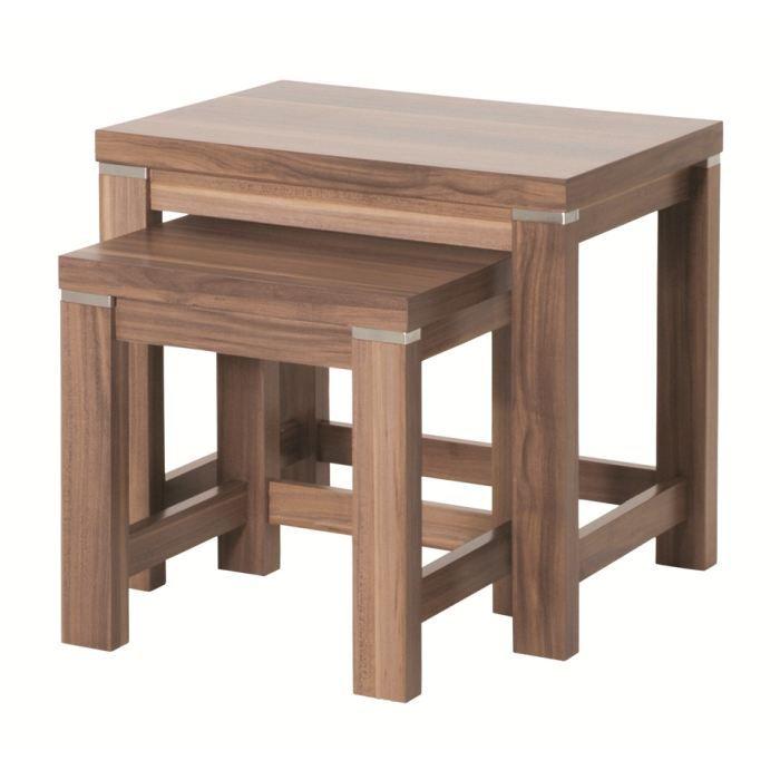 Lot De 2 Tables Basses Lotus Noyer Achat Vente Table