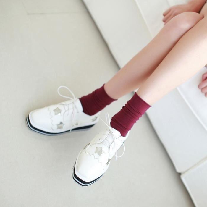 baskets-Pure Color talon plat pour femme Lacet Flower Sneakers 82xYdWGB