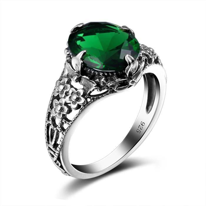 bijoux-1000-925 Argent- Bague-Femme-émeraude-Vert-Style Gothique