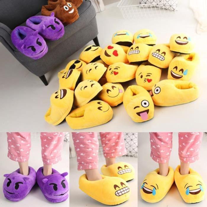 Hiver emoji couverture complète pantoufle chaussures en peluche maison chaussons d'intérieur oXIpWFNFZ