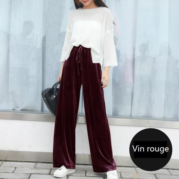 Pantalons Large Femme Grande Taille Coton de Serrage à Velours d or ... 0ecedf03da5