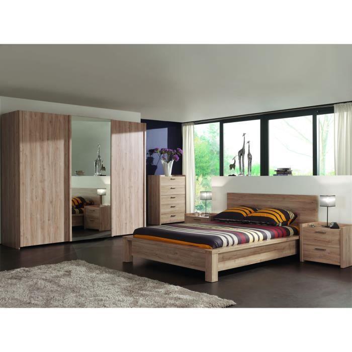 Chambre complète adulte armoire penderie portes coulissantes chêne chambord  Mano 180 cm