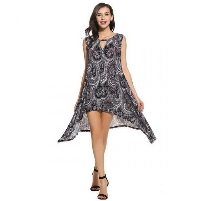 Mini robe pull Femmes occasionnelles sans manches impression O cou ourlet asymétrique creux