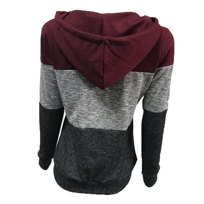 Casual Zippé Capuche Manteau bleu Sweatshirt Sweats Gris Automne A Hiver Femme Rouge rouge Pullover Minetom Hoodie Tops gris 0F1zqwSK