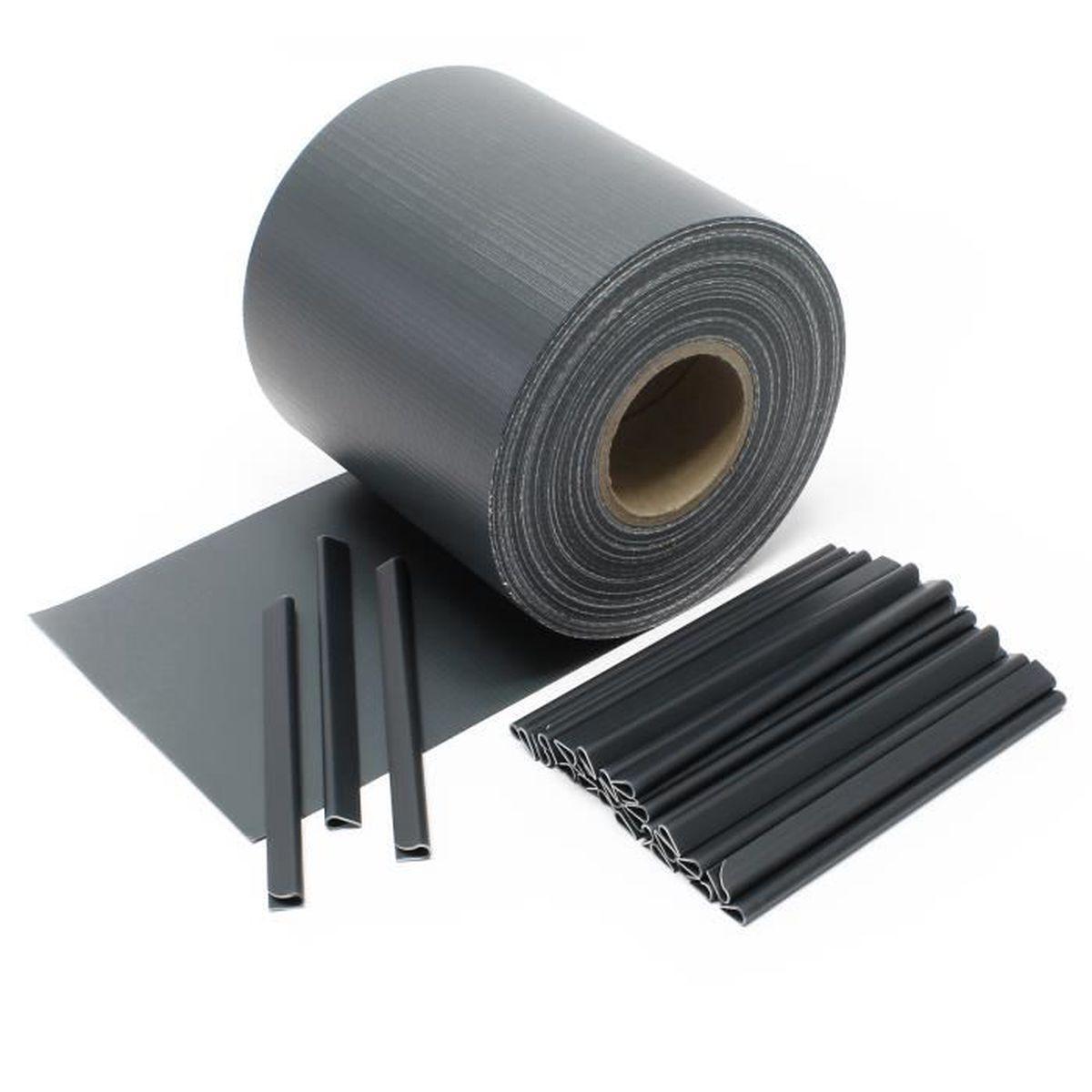 65m Noir Brise-vue Pare-vent en PVC Occultation Clôture Protection ...