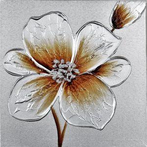 Tableau déco Fleurs Toile peinte la main 30x30x2,5cm