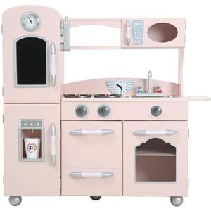 DINETTE - CUISINE Jeu de cuisine enfant en bois dinette en rose pour