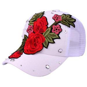 Femmes Hommes Denim Reglable Strass Rose Fleur Casquette De Baseball