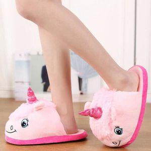 CHAUSSON - PANTOUFLE Femmes mode fantaisie rose pantoufles de licorne p d9ae35e18fe8
