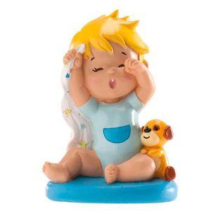 Figurine décor gâteau Figurine Bapteme Garcon Baillement Doudou - Décora