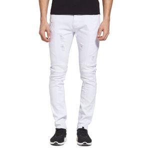 jean blanc dechire homme achat vente jean blanc dechire homme pas cher cdiscount. Black Bedroom Furniture Sets. Home Design Ideas