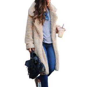 34 Femmes D4RZC fourrure long manteau poches fausse Taille Cardigan Lapel avant avec ouvert FnRZqH7Fr