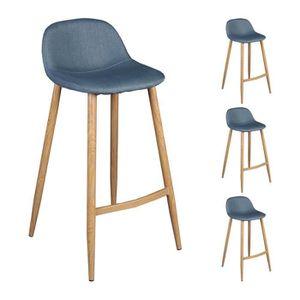 lot de 4 tabourets bar bleu gris 44x48xh91cm avec pieds m talliques couleur bois achat vente. Black Bedroom Furniture Sets. Home Design Ideas