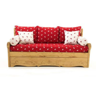 e47cf491a45 Canapé convertible Gigogne 3 places pin massif Edelweiss rouge Dahu ...