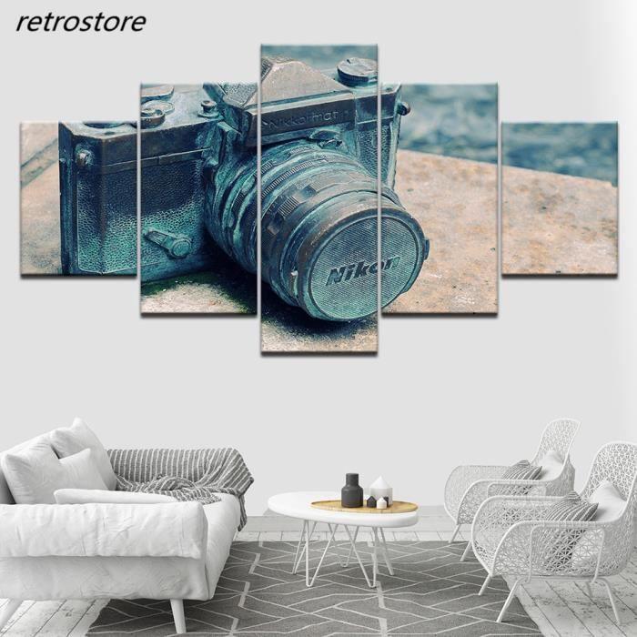 (section comprend pas) toile hd pour la peinture du mur gris art photos 5  groupe modulaire de rétro - caméra affiche