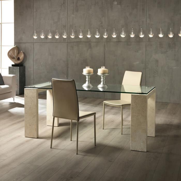 Table de salle manger millerighe 2 avec plateau en for Table salle a manger plateau verre