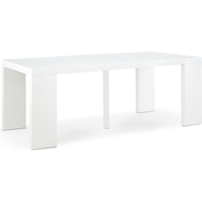 Table Console Oxalys Blanc Laquee Achat Vente Console Extensible