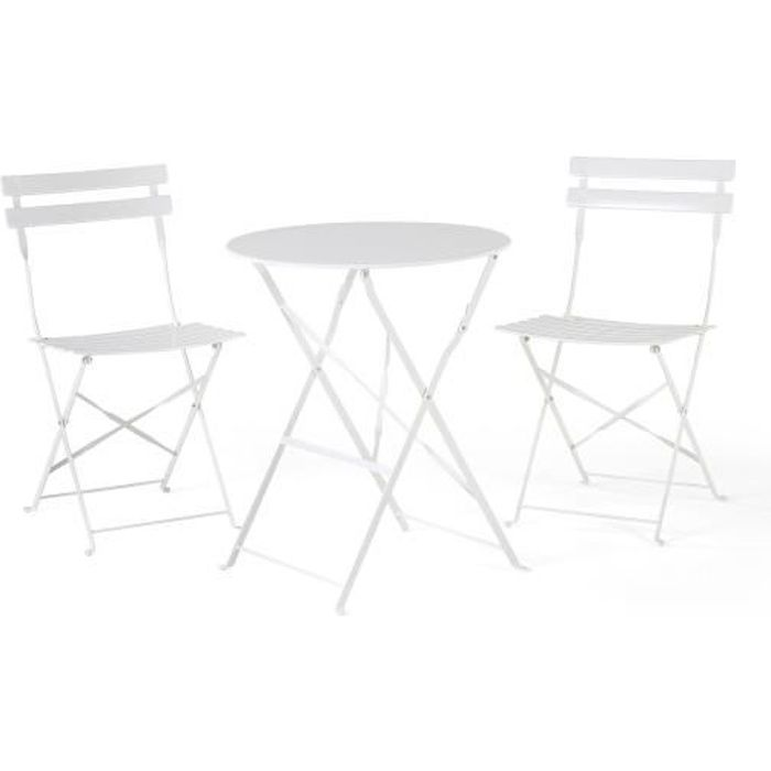 Table et 2 chaises de jardin en acier blanc - Fiori - Achat / Vente ...