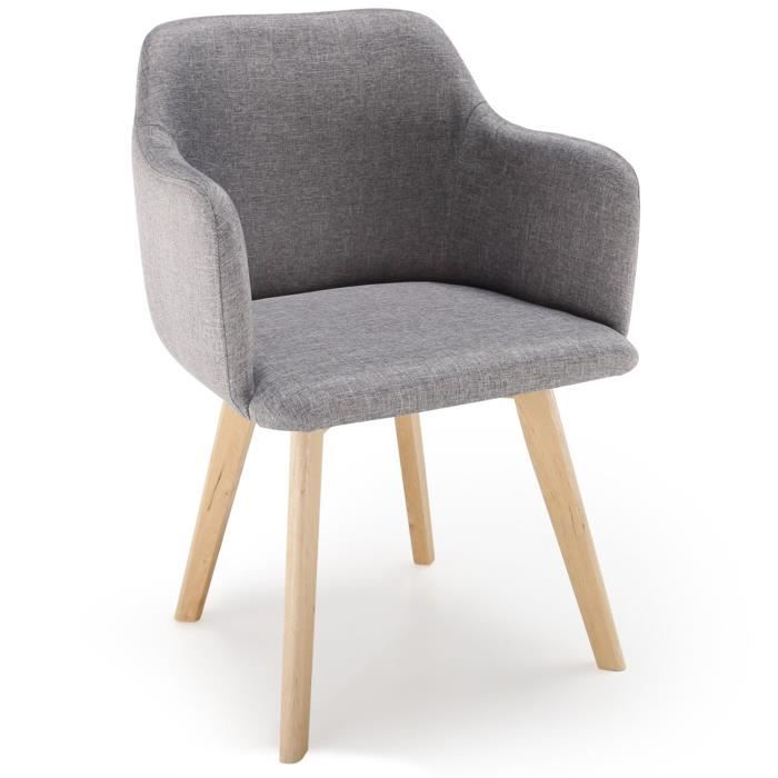 Chaise Style Scandinave Candy Tissu Gris