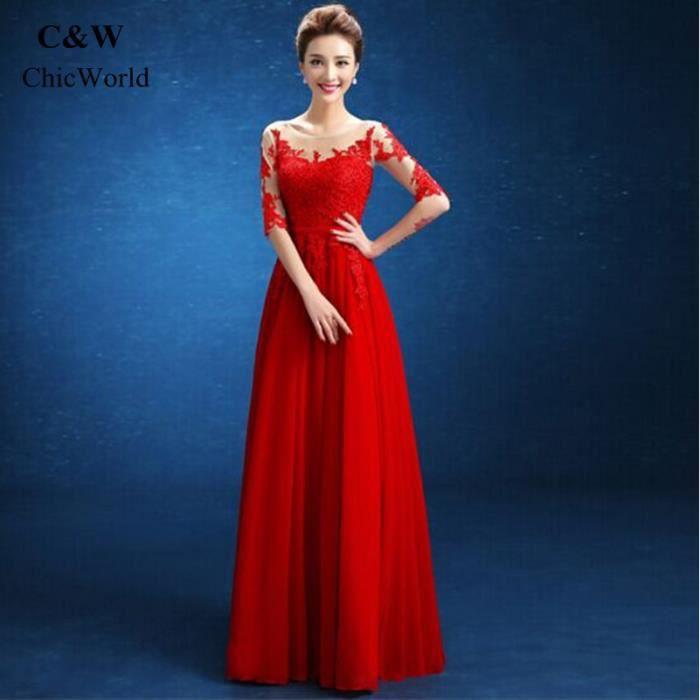 74a4fa31b1732 Femmes Longue Robe de Soirée Solide Couleur 1 2 Manches Voir à Travers Rouge  Sexy Robe Dentelle Désign Robe de Mariée