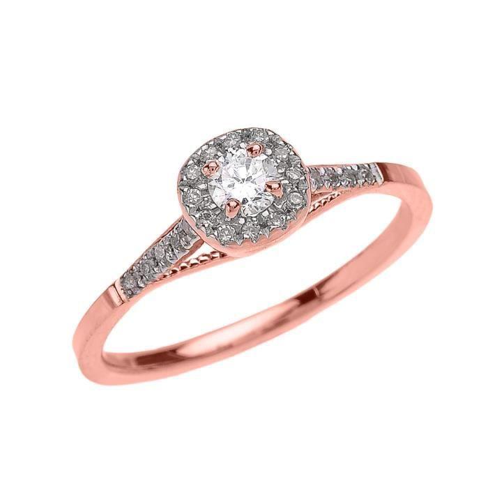 Bague Femme 10 Ct Or Rose Coussin Forme Diamant Engagement Milgrain Design